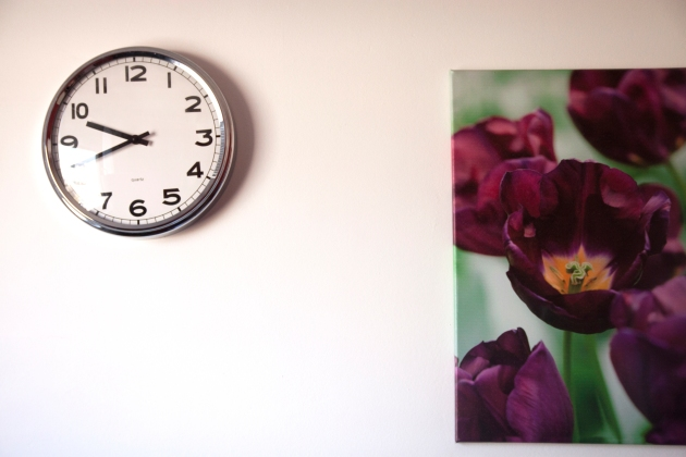 clock and flower